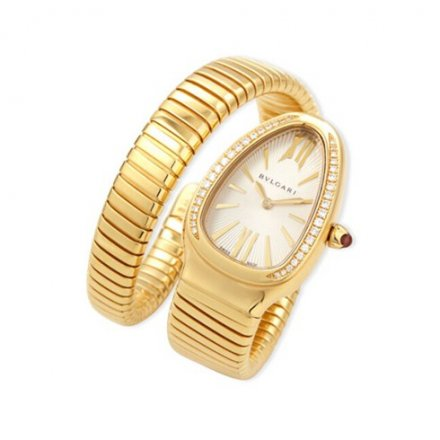 Bulgari Serpenti Tubogas or jaune montre en diamant SP35C6GDG.1T