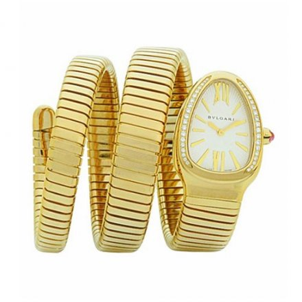 Bulgari Serpenti Tubogas or jaune montre en diamant SP35C6GDG.2T
