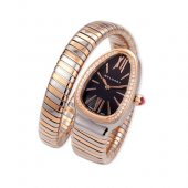 Bulgari Serpenti Tubogas two-tone pink gold diamond watch SP35BSPGD.1T