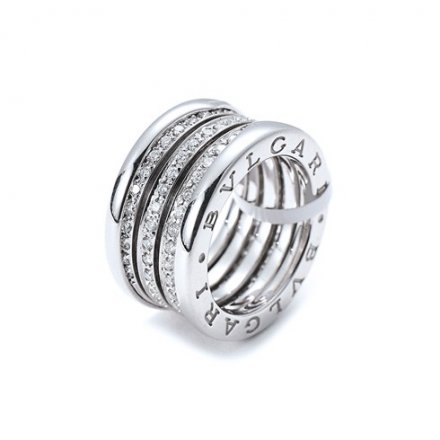 Bulgari B.ZERO1 or blanc 18 carats bague 4 bandes pavée de diamants