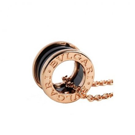 Bulgari B.ZERO1 necklace black ceramic pink gold pendant