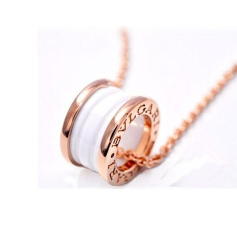 Bulgari B.ZERO1 necklace white ceramic pink gold pendant