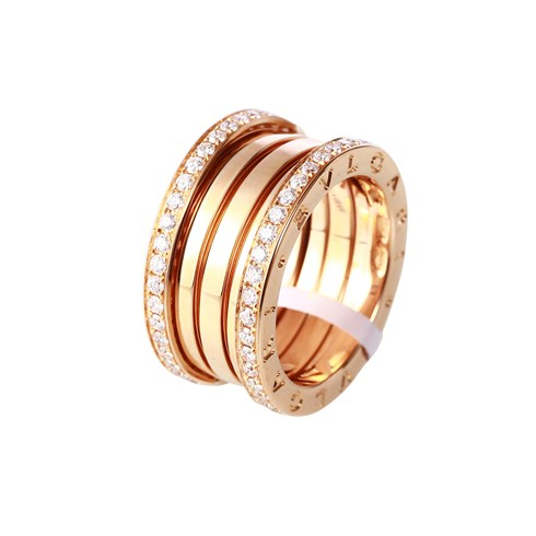Bulgari B.ZERO1 bague 4 bandes en or rose 18 carats de diamants pavé sur les bords
