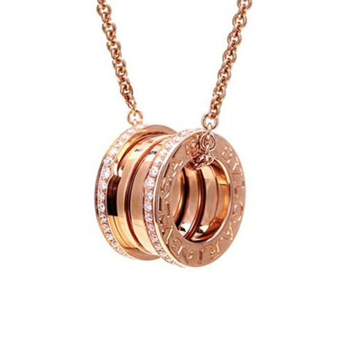 Bulgari B.ZERO1 necklace pink gold pendant with paved diamonds