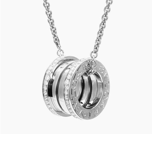 Bulgari B.ZERO1 necklace white gold paved diamond pendant
