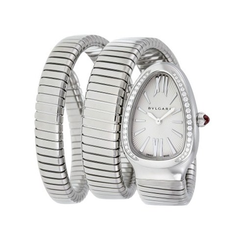 Bulgari Serpenti Tubogas acier montre en diamant SP35C6SDS.2T