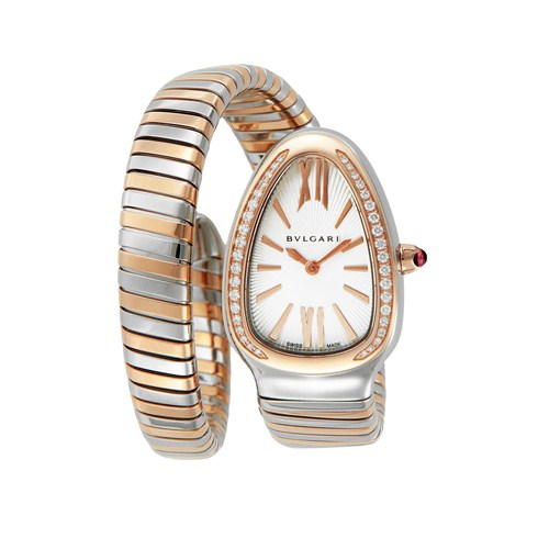 199acf6c00da Deux tons Bulgari Serpenti Tubogas 35mm montre en diamant SP35C6SPGD.1T