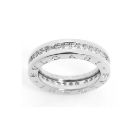 Bulgari B.ZERO1 18k white gold 1-band ring paved with diamonds