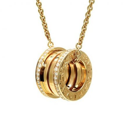 Bulgari B.ZERO1 yellow gold necklace with paved diamond pendant