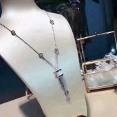 replica bulgari b.zero1 18k white gold necklace with white ceramic and pave diamonds