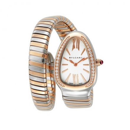 Two-tone Bulgari Serpenti Tubogas 35mm diamond watch SP35C6SPGD.1T
